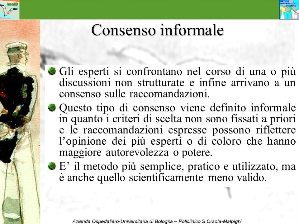 Consenso informale Gli esperti si confrontano nel corso di una o più discussioni non strutturate e infine arrivano a un consenso sulle raccomandazioni