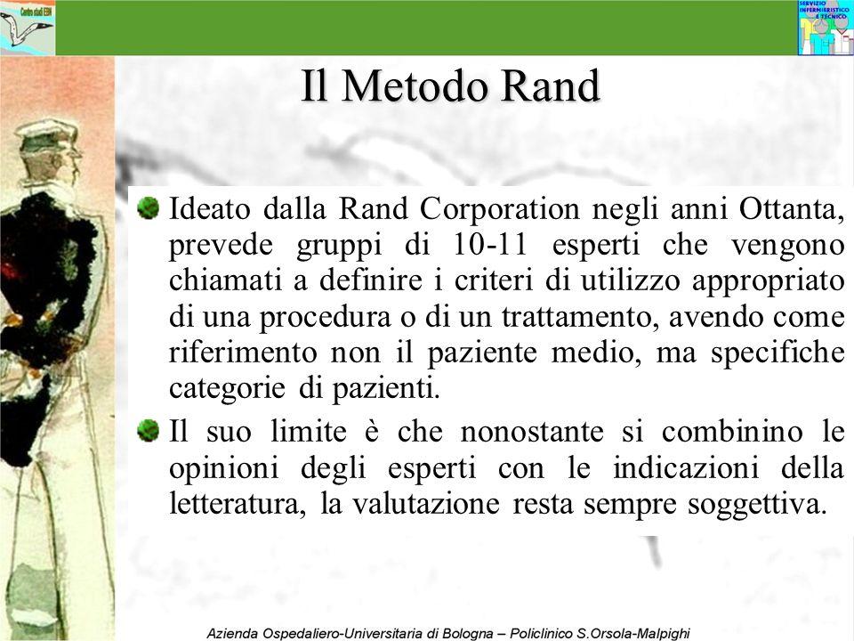 Il Metodo Rand Ideato dalla Rand Corporation negli anni Ottanta, prevede gruppi di 10-11 esperti che vengono chiamati a definire i criteri di utilizzo