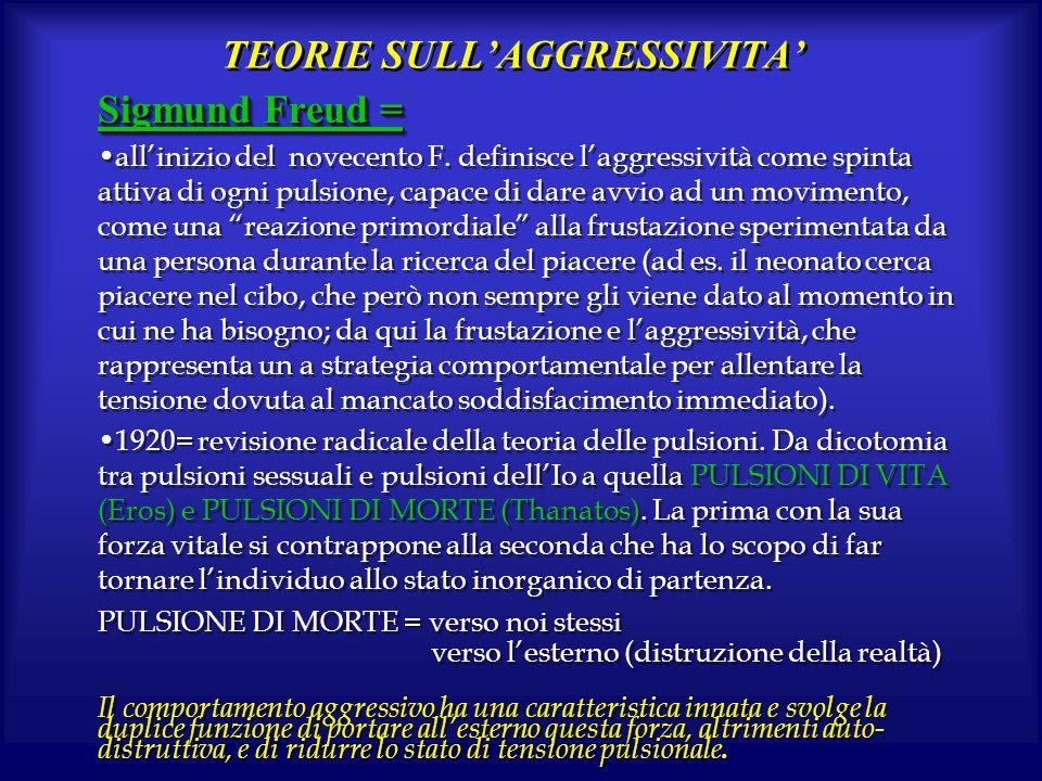 TEORIE SULLAGGRESSIVITA Sigmund Freud = allinizio del novecento F. definisce laggressività come spinta attiva di ogni pulsione, capace di dare avvio a