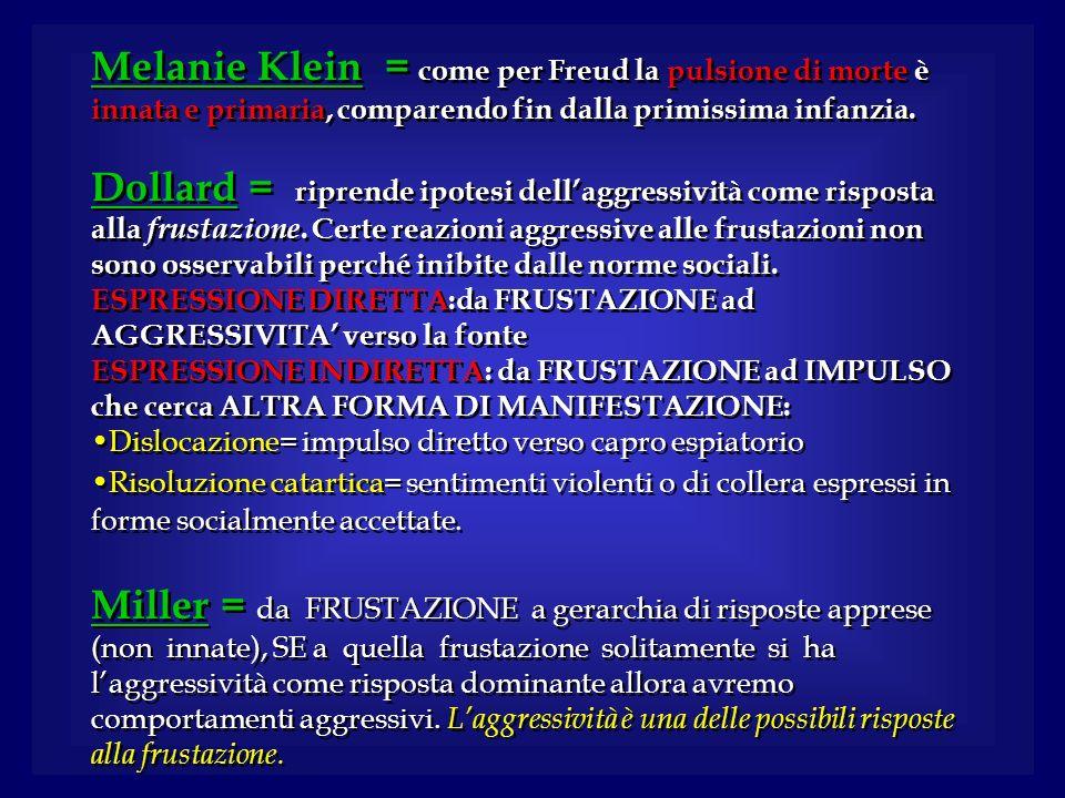 Melanie Klein = come per Freud la pulsione di morte è innata e primaria, comparendo fin dalla primissima infanzia. Dollard = riprende ipotesi dellaggr