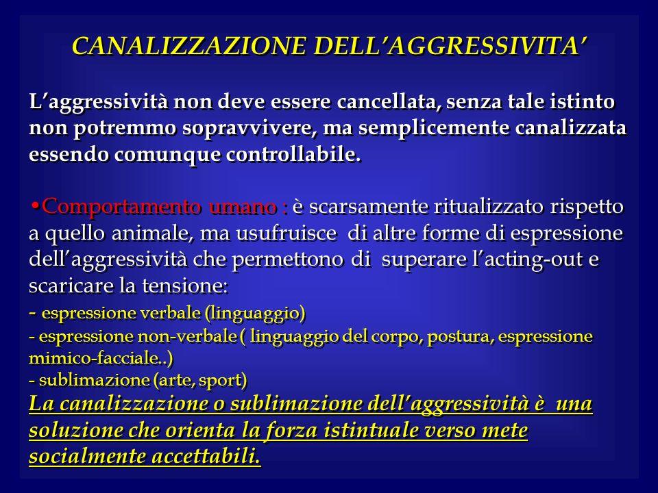 CANALIZZAZIONE DELLAGGRESSIVITA Laggressività non deve essere cancellata, senza tale istinto non potremmo sopravvivere, ma semplicemente canalizzata e