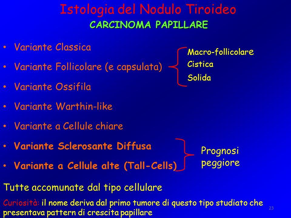 23 Variante Classica Variante Follicolare (e capsulata) Variante Ossifila Variante Warthin-like Variante a Cellule chiare Variante Sclerosante Diffusa
