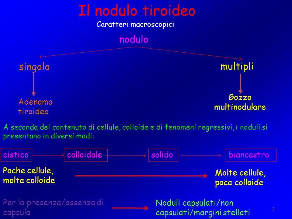 3 Il nodulo tiroideo Caratteri macroscopici nodulo singolo multipli Adenoma tiroideo Gozzo multinodulare A seconda del contenuto di cellule, colloide