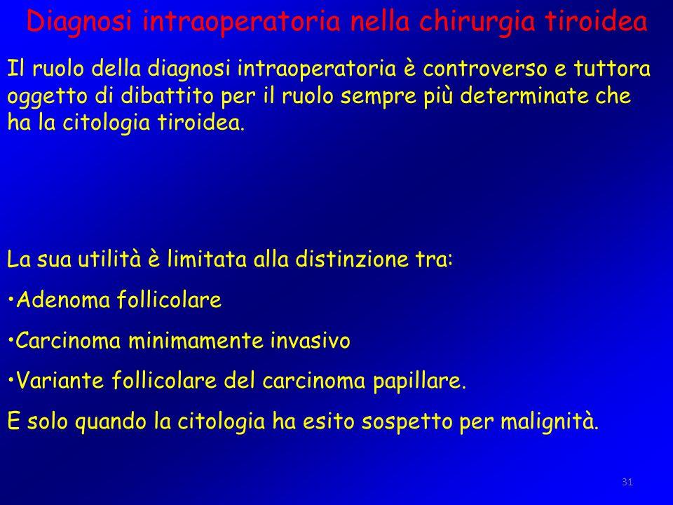 31 Diagnosi intraoperatoria nella chirurgia tiroidea Il ruolo della diagnosi intraoperatoria è controverso e tuttora oggetto di dibattito per il ruolo