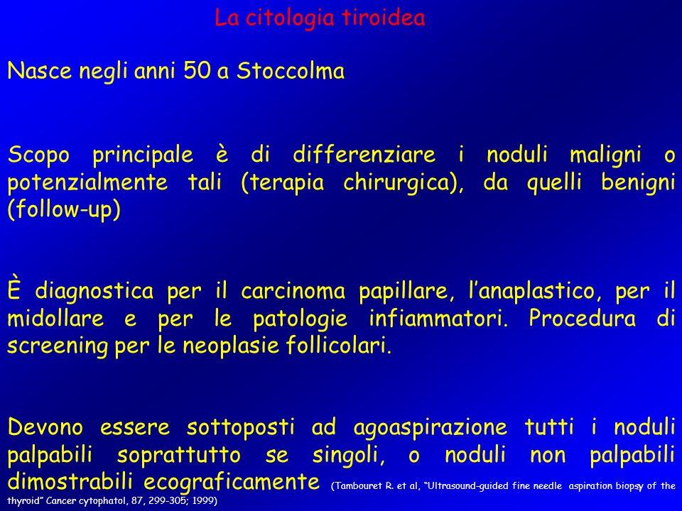 4 La citologia tiroidea Nasce negli anni 50 a Stoccolma Scopo principale è di differenziare i noduli maligni o potenzialmente tali (terapia chirurgica