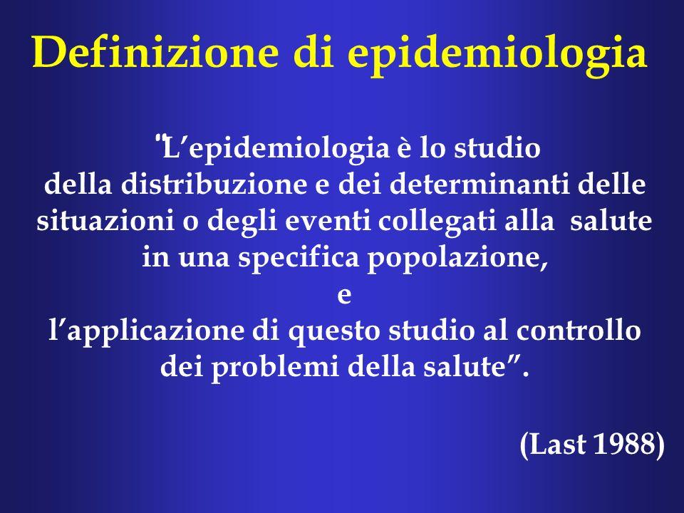 Definizione di epidemiologia Lepidemiologia è lo studio della distribuzione e dei determinanti delle situazioni o degli eventi collegati alla salute in una specifica popolazione, e lapplicazione di questo studio al controllo dei problemi della salute.