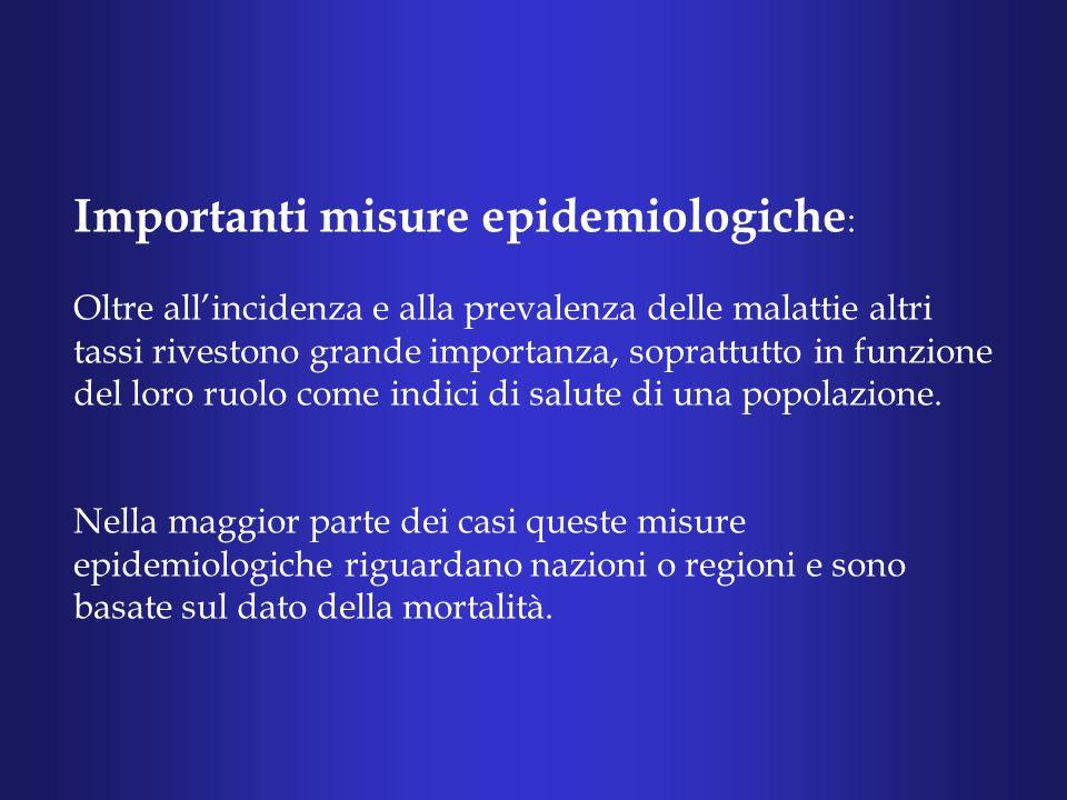 Importanti misure epidemiologiche : Oltre allincidenza e alla prevalenza delle malattie altri tassi rivestono grande importanza, soprattutto in funzione del loro ruolo come indici di salute di una popolazione.