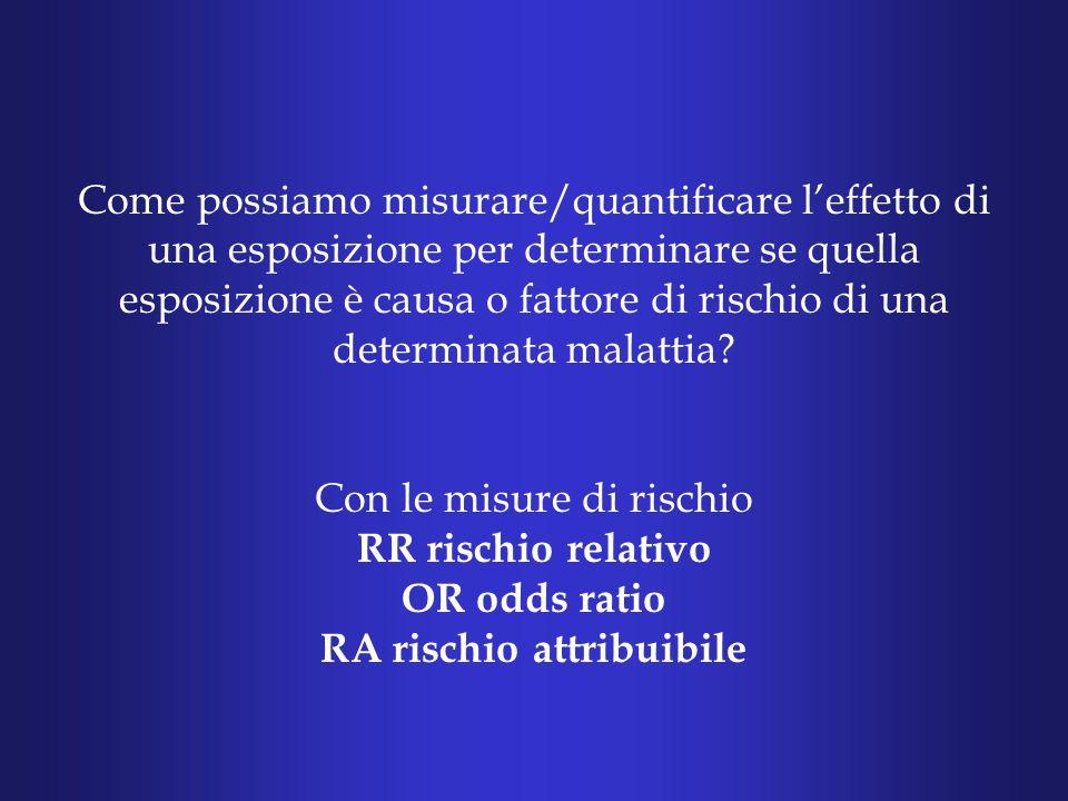 Come possiamo misurare/quantificare leffetto di una esposizione per determinare se quella esposizione è causa o fattore di rischio di una determinata malattia.