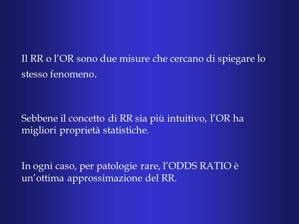 Il RR o lOR sono due misure che cercano di spiegare lo stesso fenomeno.