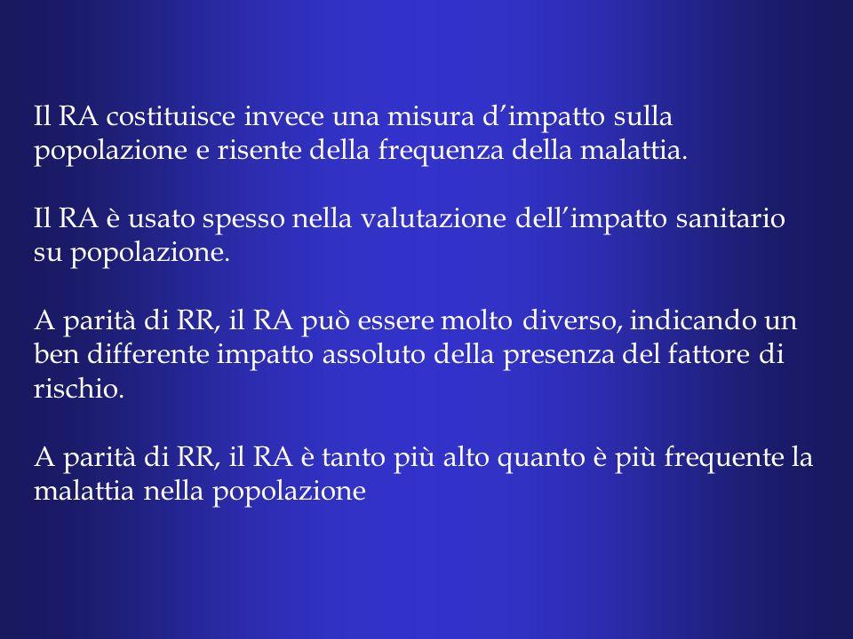 Il RA costituisce invece una misura dimpatto sulla popolazione e risente della frequenza della malattia.