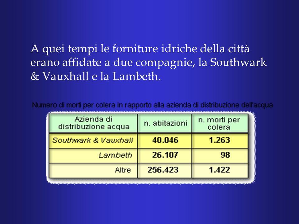 Non cera da sbagliarsi, dove la Lambeth forniva lacqua potabile le morti erano nettamente inferiori.