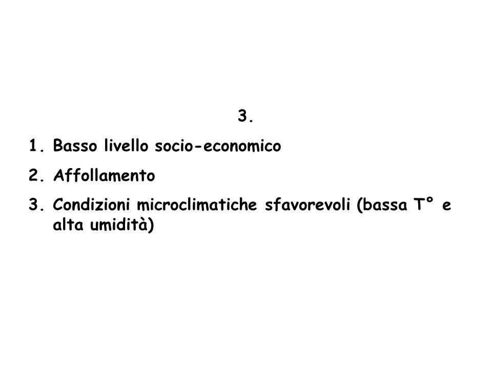 3. 1.Basso livello socio-economico 2.Affollamento 3.Condizioni microclimatiche sfavorevoli (bassa T° e alta umidità)