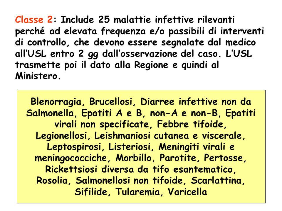 Classe 2: Include 25 malattie infettive rilevanti perché ad elevata frequenza e/o passibili di interventi di controllo, che devono essere segnalate da