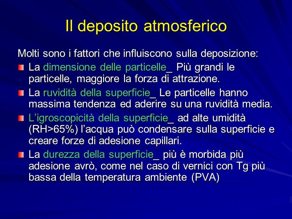Il deposito atmosferico Molti sono i fattori che influiscono sulla deposizione: La dimensione delle particelle_ Più grandi le particelle, maggiore la