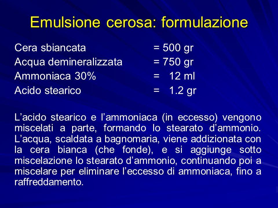 Emulsione cerosa: formulazione Cera sbiancata = 500 gr Acqua demineralizzata = 750 gr Ammoniaca 30%= 12 ml Acido stearico= 1.2 gr Lacido stearico e la