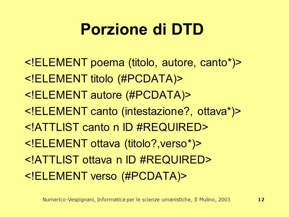Numerico-Vespignani, Informatica per le scienze umanistiche, Il Mulino, 2003 12 Porzione di DTD
