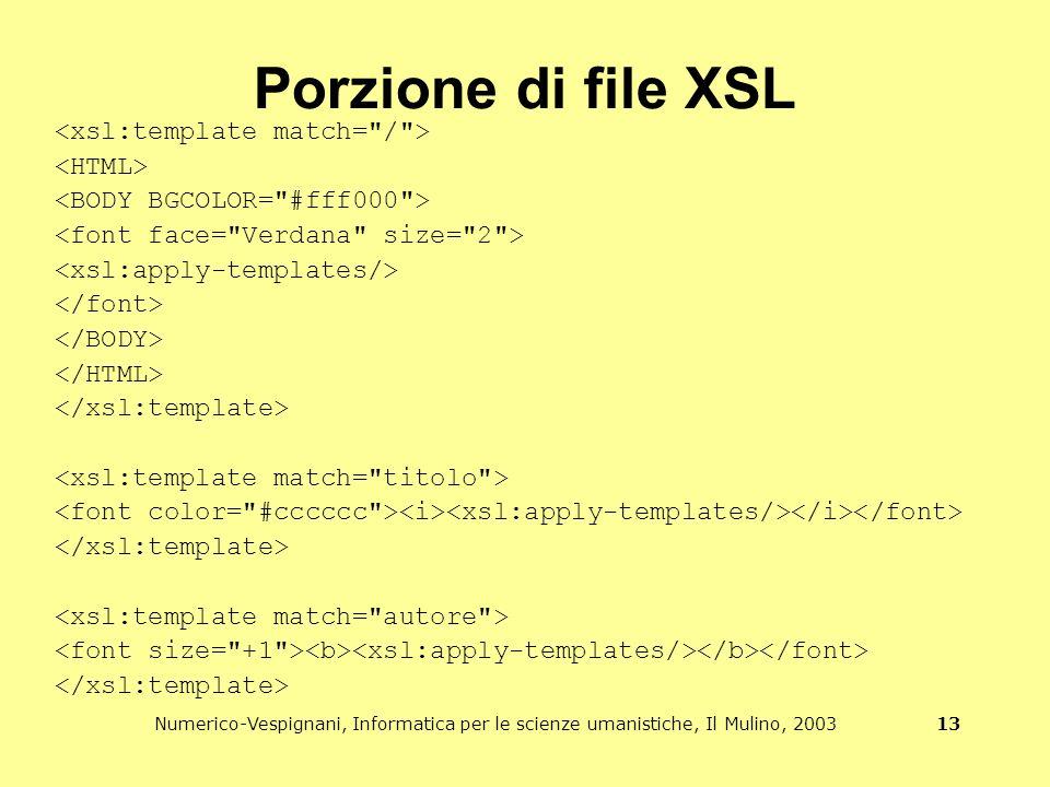 Numerico-Vespignani, Informatica per le scienze umanistiche, Il Mulino, 2003 13 Porzione di file XSL