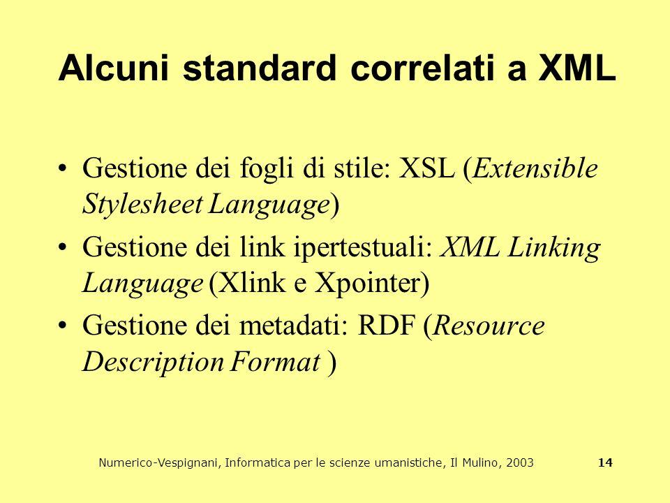 Numerico-Vespignani, Informatica per le scienze umanistiche, Il Mulino, 2003 14 Alcuni standard correlati a XML Gestione dei fogli di stile: XSL (Extensible Stylesheet Language) Gestione dei link ipertestuali: XML Linking Language (Xlink e Xpointer) Gestione dei metadati: RDF (Resource Description Format )