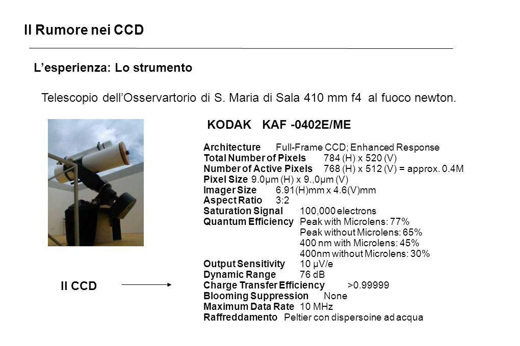 Il Rumore nei CCD Lesperienza: Lo strumento Telescopio dellOsservartorio di S. Maria di Sala 410 mm f4 al fuoco newton. KODAK KAF -0402E/ME Architectu
