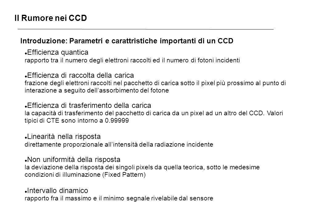 Il Rumore nei CCD Introduzione: Parametri e carattristiche importanti di un CCD Efficienza quantica rapporto tra il numero degli elettroni raccolti ed