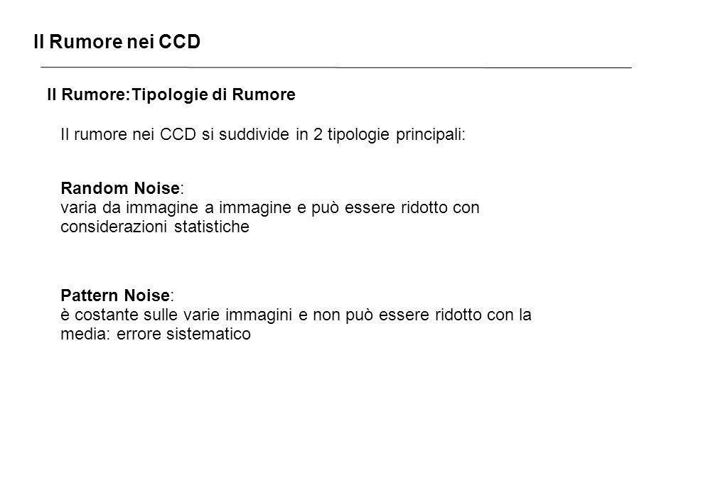 Il Rumore nei CCD Il Rumore:Tipologie di Rumore Il rumore nei CCD si suddivide in 2 tipologie principali: Random Noise: varia da immagine a immagine e