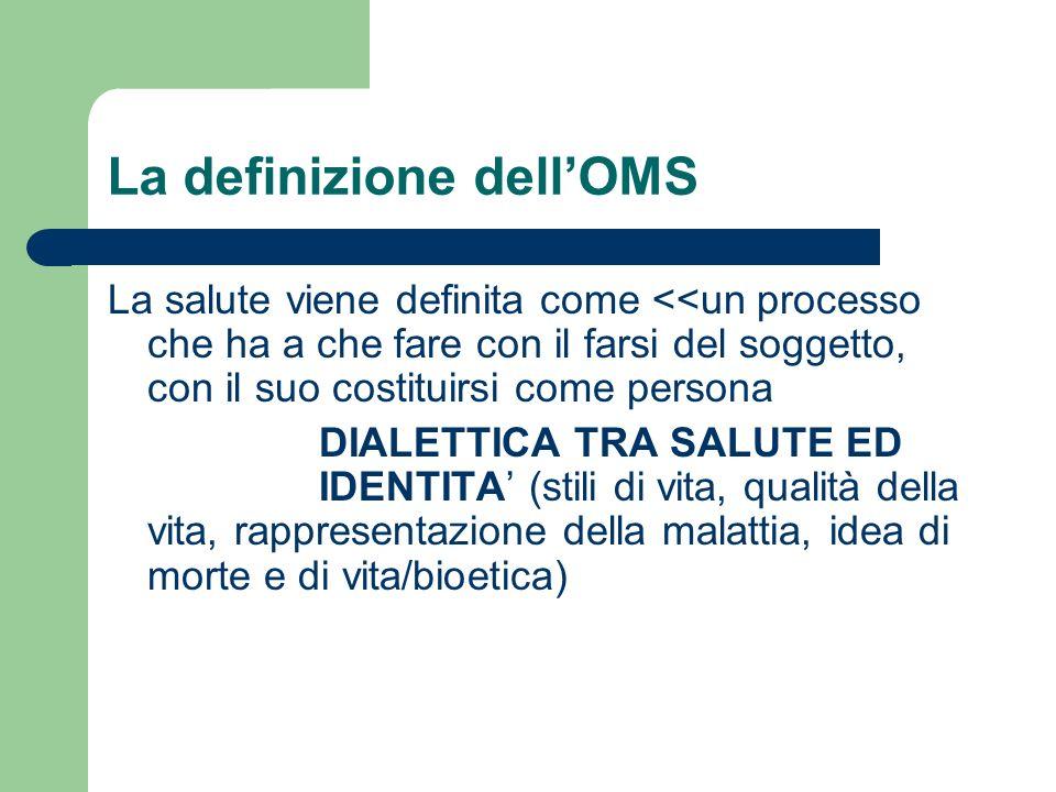 La definizione dellOMS La salute viene definita come <<un processo che ha a che fare con il farsi del soggetto, con il suo costituirsi come persona DI