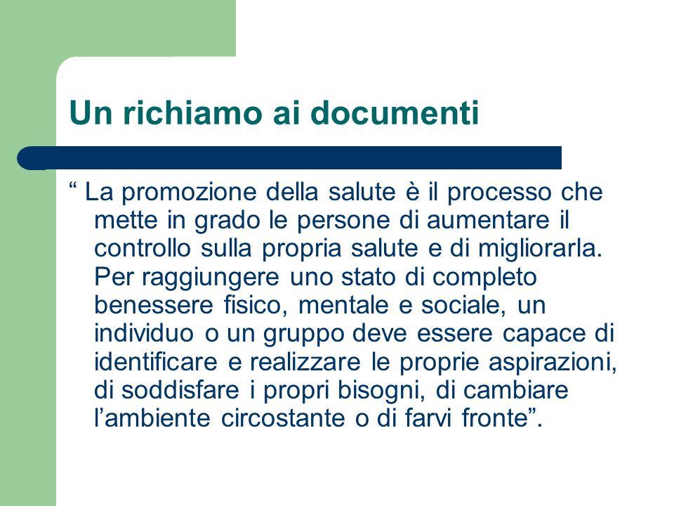 Un richiamo ai documenti La promozione della salute è il processo che mette in grado le persone di aumentare il controllo sulla propria salute e di mi