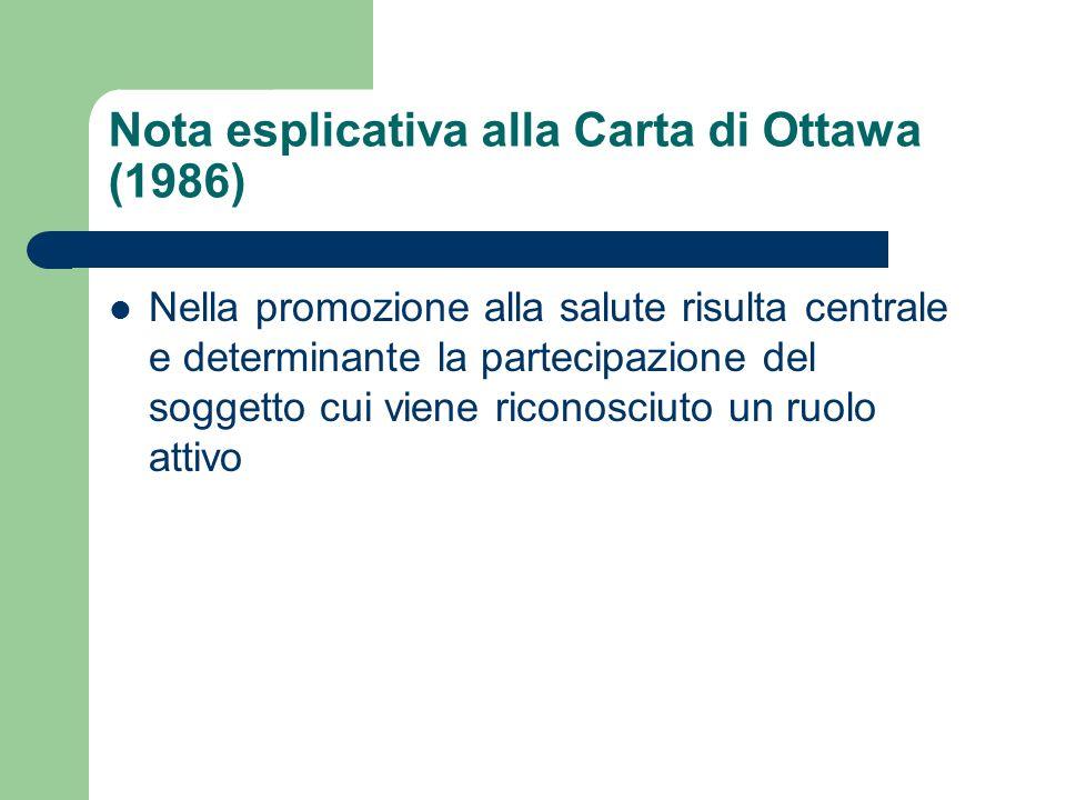 Nota esplicativa alla Carta di Ottawa (1986) Nella promozione alla salute risulta centrale e determinante la partecipazione del soggetto cui viene ric