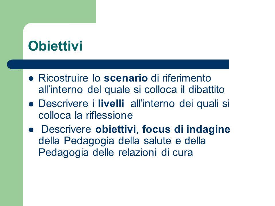 Obiettivi Ricostruire lo scenario di riferimento allinterno del quale si colloca il dibattito Descrivere i livelli allinterno dei quali si colloca la