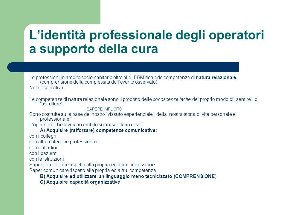 Lidentità professionale degli operatori a supporto della cura Le professioni in ambito socio-sanitario oltre alle EBM richiede competenze di natura re
