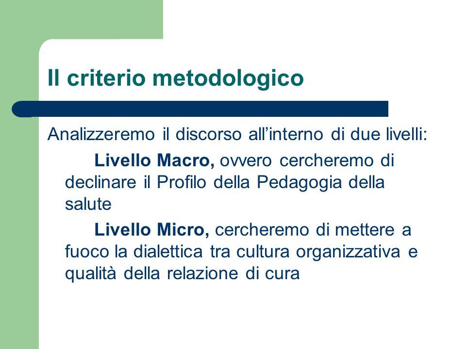 Il criterio metodologico Analizzeremo il discorso allinterno di due livelli: Livello Macro, ovvero cercheremo di declinare il Profilo della Pedagogia