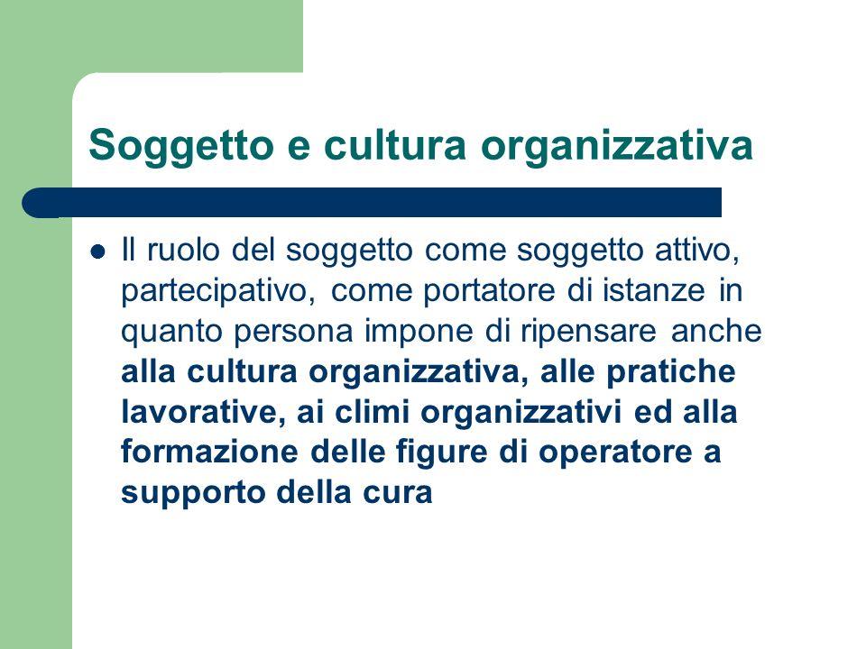 Soggetto e cultura organizzativa Il ruolo del soggetto come soggetto attivo, partecipativo, come portatore di istanze in quanto persona impone di ripe