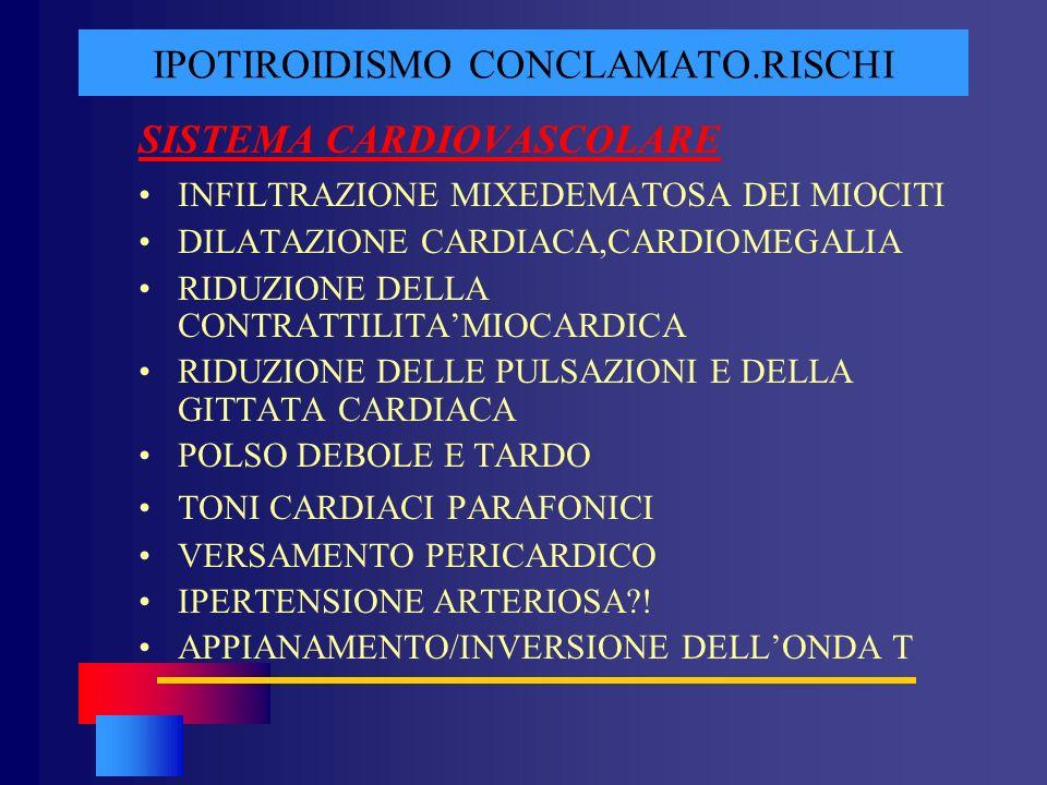 IPOTIROIDISMO CONCLAMATO.RISCHI SISTEMA CARDIOVASCOLARE INFILTRAZIONE MIXEDEMATOSA DEI MIOCITI DILATAZIONE CARDIACA,CARDIOMEGALIA RIDUZIONE DELLA CONT