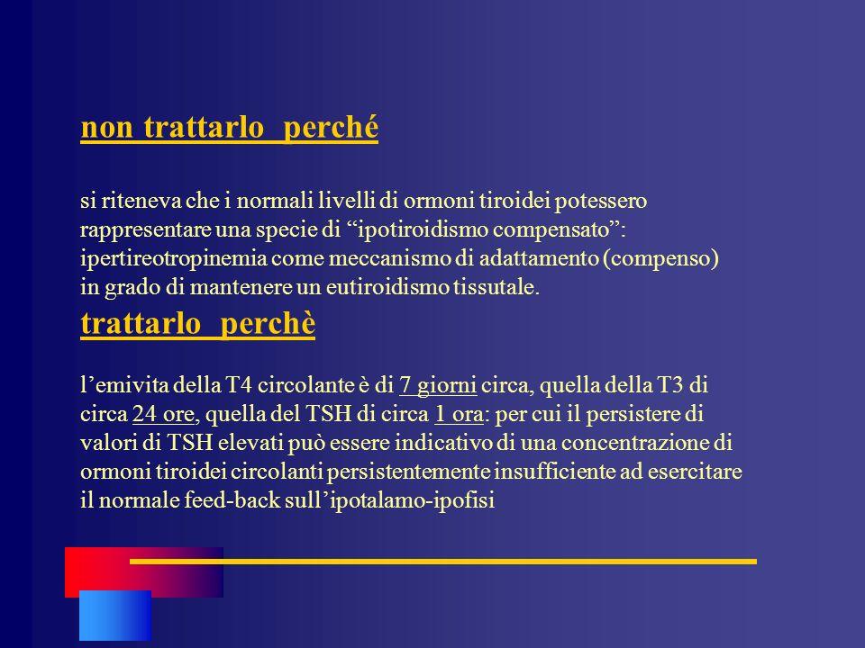non trattarlo perché si riteneva che i normali livelli di ormoni tiroidei potessero rappresentare una specie di ipotiroidismo compensato: ipertireotro