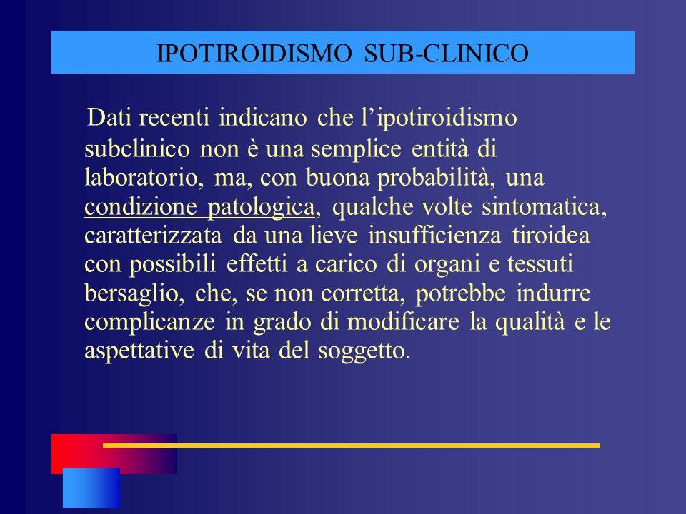 IPOTIROIDISMO SUB-CLINICO Dati recenti indicano che lipotiroidismo subclinico non è una semplice entità di laboratorio, ma, con buona probabilità, una
