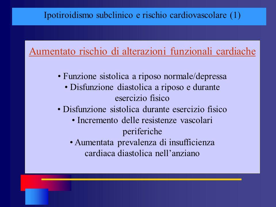 Ipotiroidismo subclinico e rischio cardiovascolare (1) Aumentato rischio di alterazioni funzionali cardiache Funzione sistolica a riposo normale/depre