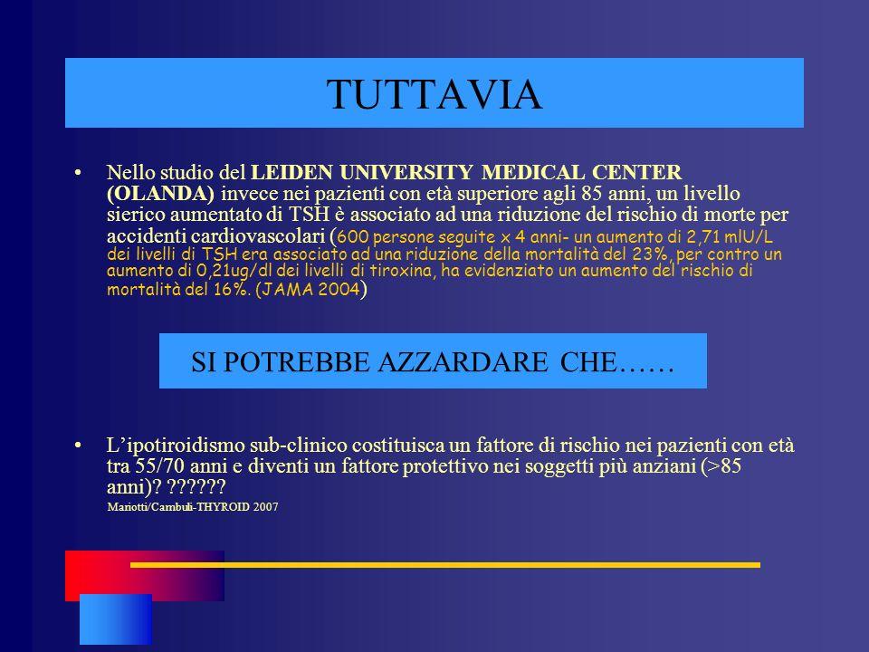 TUTTAVIA Nello studio del LEIDEN UNIVERSITY MEDICAL CENTER (OLANDA) invece nei pazienti con età superiore agli 85 anni, un livello sierico aumentato d