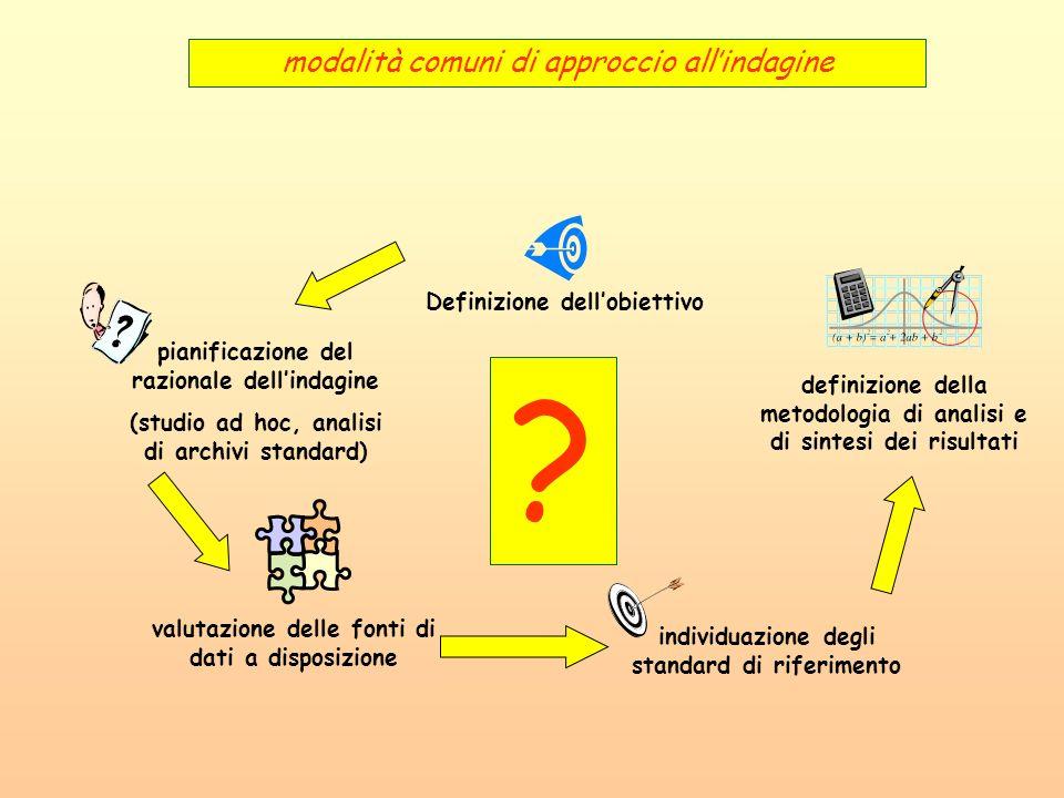 Definizione dellobiettivo valutazione delle fonti di dati a disposizione individuazione degli standard di riferimento definizione della metodologia di