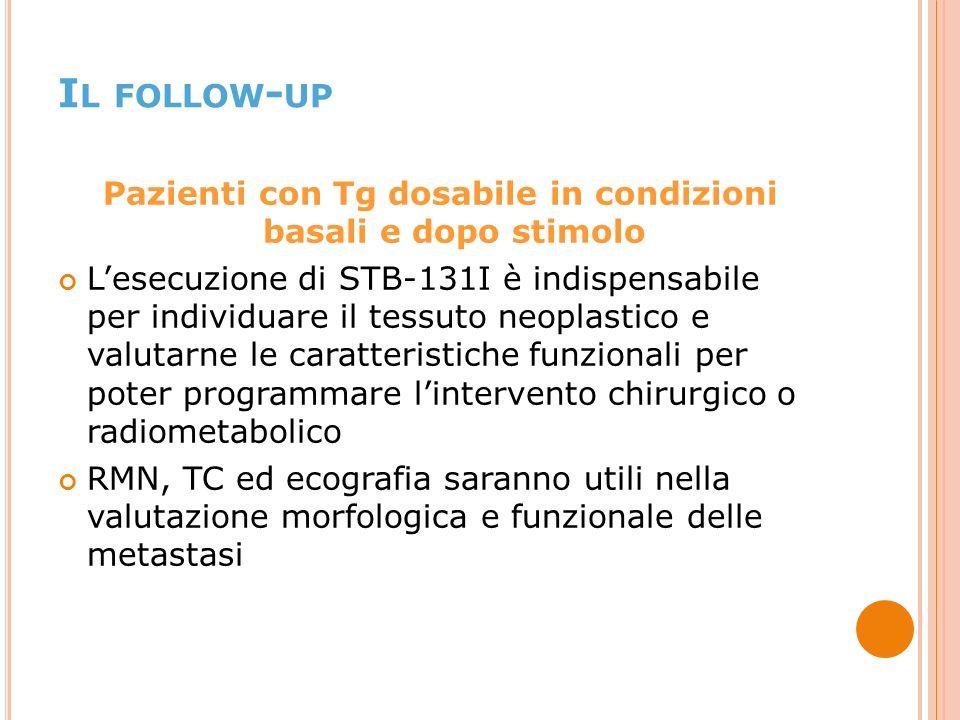 Pazienti con Tg dosabile in condizioni basali e dopo stimolo Lesecuzione di STB-131I è indispensabile per individuare il tessuto neoplastico e valutarne le caratteristiche funzionali per poter programmare lintervento chirurgico o radiometabolico RMN, TC ed ecografia saranno utili nella valutazione morfologica e funzionale delle metastasi I L FOLLOW - UP
