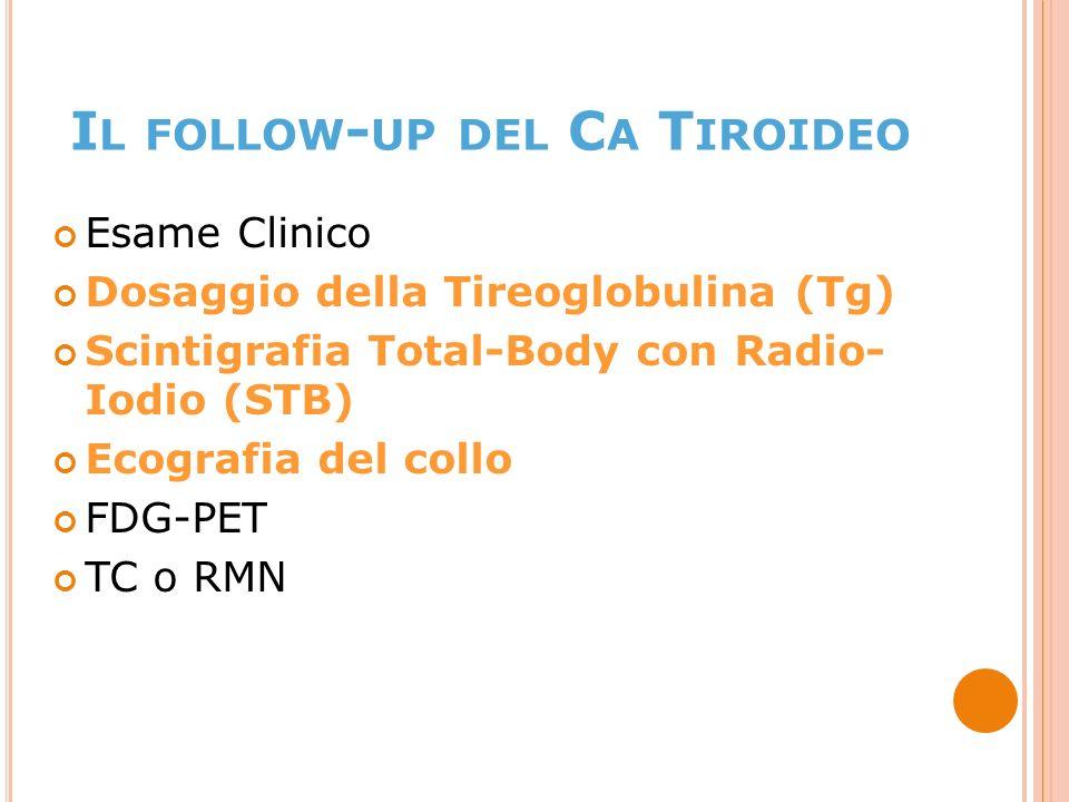 Esame Clinico Dosaggio della Tireoglobulina (Tg) Scintigrafia Total-Body con Radio- Iodio (STB) Ecografia del collo FDG-PET TC o RMN I L FOLLOW - UP DEL C A T IROIDEO