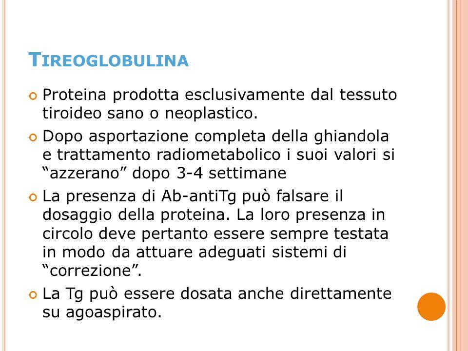 Proteina prodotta esclusivamente dal tessuto tiroideo sano o neoplastico.