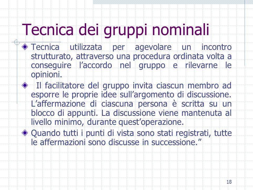 18 Tecnica dei gruppi nominali Tecnica utilizzata per agevolare un incontro strutturato, attraverso una procedura ordinata volta a conseguire laccordo nel gruppo e rilevarne le opinioni.