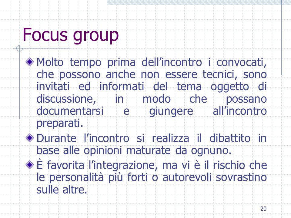 20 Focus group Molto tempo prima dellincontro i convocati, che possono anche non essere tecnici, sono invitati ed informati del tema oggetto di discussione, in modo che possano documentarsi e giungere allincontro preparati.