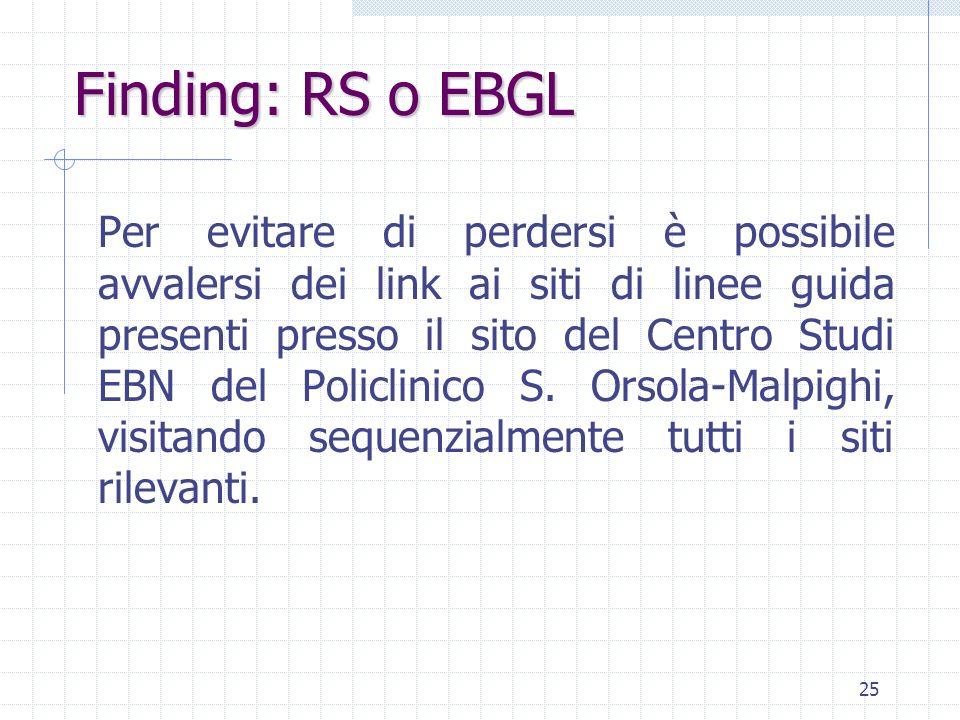 25 Per evitare di perdersi è possibile avvalersi dei link ai siti di linee guida presenti presso il sito del Centro Studi EBN del Policlinico S.