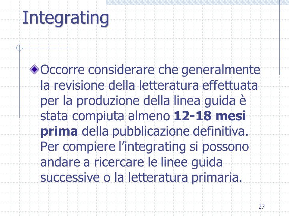 27 Occorre considerare che generalmente la revisione della letteratura effettuata per la produzione della linea guida è stata compiuta almeno 12-18 mesi prima della pubblicazione definitiva.
