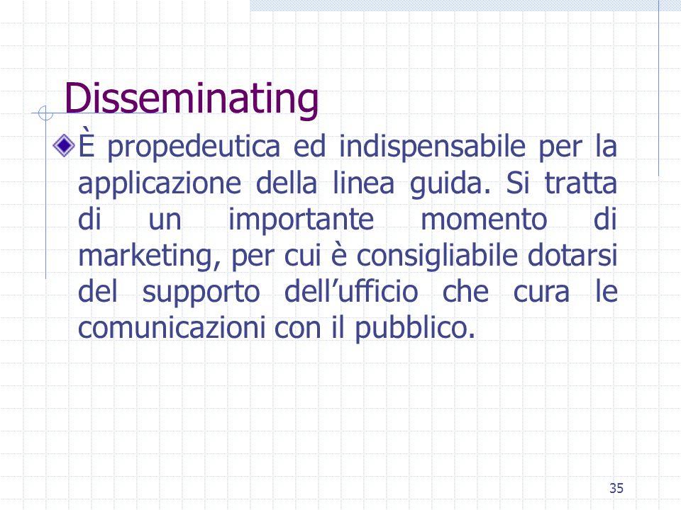 35 Disseminating È propedeutica ed indispensabile per la applicazione della linea guida.