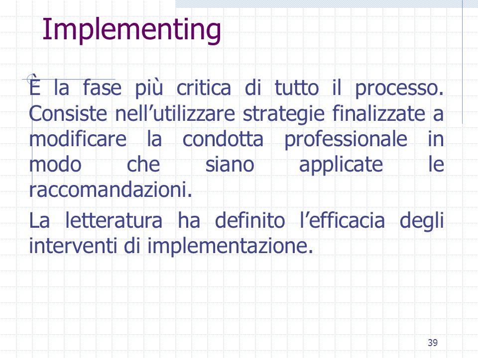 39 Implementing È la fase più critica di tutto il processo.