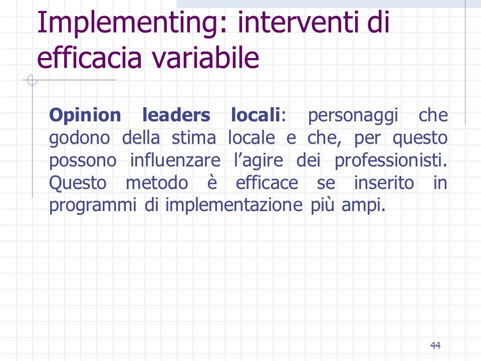 44 Implementing: interventi di efficacia variabile Opinion leaders locali: personaggi che godono della stima locale e che, per questo possono influenzare lagire dei professionisti.