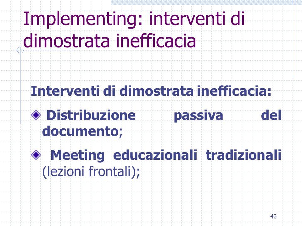 46 Interventi di dimostrata inefficacia: Distribuzione passiva del documento; Meeting educazionali tradizionali (lezioni frontali); Implementing: interventi di dimostrata inefficacia