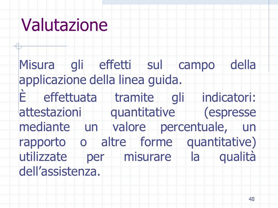48 Valutazione Misura gli effetti sul campo della applicazione della linea guida.